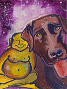 Meditation Paintings - Buddha and Divine Chocolate Lab by Ilisa  Millermoon