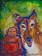Meditation Paintings - Buddha and Divine Collie by Ilisa  Millermoon