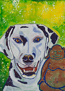 Meditation Paintings - Buddha and Divine Dalmatian by Ilisa  Millermoon
