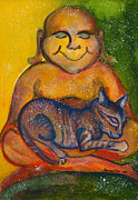 Mother Earth Paintings - Buddha and Divine Feline by Ilisa  Millermoon