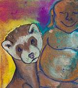 White Ferret Posters - Buddha and Divine Ferret Poster by Ilisa  Millermoon
