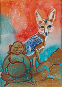 Meditation Paintings - Buddha and Divine Kit Fox by Ilisa  Millermoon