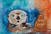 Animals Love Framed Prints - Buddha and Divine Otter Framed Print by Ilisa  Millermoon