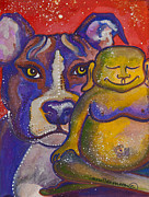 Meditation Paintings - Buddha and Divine Pit Bull by Ilisa  Millermoon