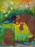 Meditation Paintings - Buddha and Divine Platypus by Ilisa  Millermoon