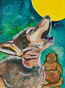 Meditation Paintings - Buddha and Divine Wolf by Ilisa  Millermoon