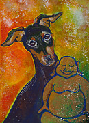 Pinscher Prints - Buddha and Pinscher Print by Ilisa  Millermoon
