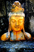 Statue Pyrography Prints - Buddha color Print by Tom Page