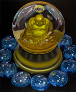 Hyper Posters - Buddha Globe with Blue Glass Poster by Tony Chimento