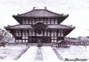 Built Structure Drawings Prints - Buddha Hall in Nara Japan Print by Benjamin Blankenbehler