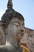 Brown Head Sculpture Prints - Buddha head Wat Wattanaram Ayutthaya Thailand Print by Ulrich Schade