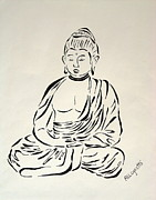 Religious Drawings Posters - Buddha in Black and White Poster by Pamela Allegretto