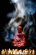 Enlightenment Posters - Buddha in Smoke Poster by Olivier Le Queinec