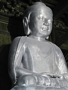 Sitting Prints - Buddha in solid silver - Jinan Temple Shanghai Print by Christine Till