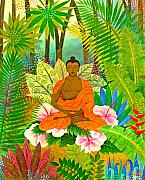 Buddha Metal Prints - Buddha in the Jungle Metal Print by Jennifer Baird