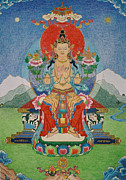Tibet Drawings Prints - Buddha Maitreya Print by Ies Walker