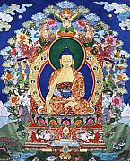 Tibetan Buddhism Tapestries - Textiles Prints - Buddha Shakyamuni and the Six Supports Print by Leslie Rinchen-Wongmo