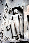 Architecture Paintings - Buddha statue at ajanta caves india by Sumit Mehndiratta