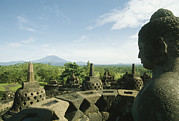 Devotional Art Posters - Buddha Statue At The Borobudur Stupa Poster by Martin Gray