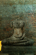 Distressed Mixed Media - Buddha statue broken on book by Phiseksit Inthip