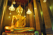 Architecture Sculpture Metal Prints - Buddha statue Metal Print by Somchai Suppalertporn