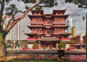 Street Photography Originals - Buddha Tooth Relic Temple Street View by Paul W Sharpe Aka Wizard of Wonders