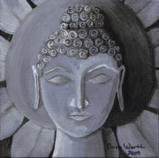 Religious Art Painting Posters - Buddha With a Stone Lotus Poster by Nicole Werth