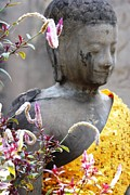Purple Robe Metal Prints - Buddha with Funky Flowers Metal Print by Nola Lee Kelsey