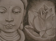 Buddha Drawing Prints - Buddha with Lotus Print by Lisa Leeman