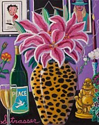 Wine Glass Paintings - Buddhas Playroom by Frank Strasser