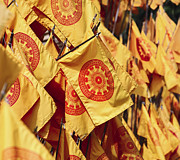 Religious Art Photos - Buddhist flag  by Gualtiero Boffi
