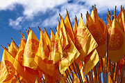 Religious Art Photos - Buddhist Flags by Gualtiero Boffi