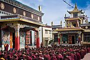 Tibetan Buddhism Metal Prints - Buddhist Monastery in full attendance Metal Print by Nila Newsom