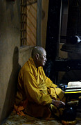 Chanting Prints - Buddhist Monk Chanting  Print by Randy Cummings