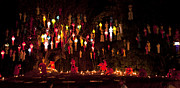 Worship Photo Originals - Buddhist monk fire candles to the Buddha by Anek Suwannaphoom