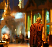 Religious Dress Framed Prints - Buddhist Monk In The Shwedagon Pag Framed Print by Chantal