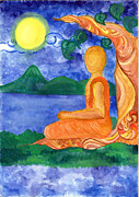 Buddhist Monk Paintings - Buddhist Monk Meditating by Ayeshmantha Wijayasiri
