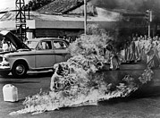 Historical Metal Prints - Buddhist Monk Thich Quang Duc, Protest Metal Print by Everett