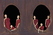 12-13 Years Prints - Buddhist Monks In Window Of Monastery Print by Martin Puddy