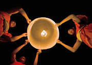 Paper Lantern Posters - Buddhist Monks Launching A Khom Loy Lantern Poster by Martin Puddy