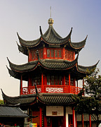 Shanghai China Tapestries Textiles Originals - Buddhist Pagoda - Shanghai China by Christine Till - CT-Graphics