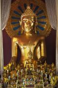 Anthropomorphic Posters - Buddhist Statue In Wat Phra Singh Poster by Keith Levit