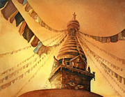 Flags Paintings - Buddhist Stupa- Nepal by Ryan Fox