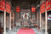 Kanji Framed Prints - Buddhist Temple Interior Framed Print by Shannon Fagan