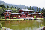 Asian Culture Prints - Buddhist Temple on Lake Shore in Hawaii Print by Inti St. Clair