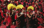 Religious Celebrations Prints - Buddist Monks At Nechung Monastery Print by Maria Stenzel