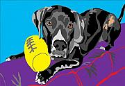 Black Lab Digital Art - Buddy and His Favorite Ball by Su Humphrey