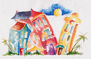Colorful Buildings Prints - Buddy Buildings Print by Pat Katz