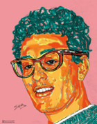 Texas Drawings - Buddy Holly  by Suzanne Gee