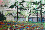 Reductionism Prints Painting Originals - Buddys Harley Barn by Charlie Spear